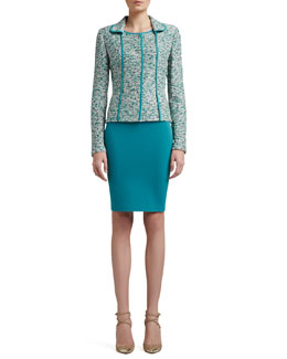 St. John Collection Ocean Wave Shimmer Tweed Knit Jacket With Silk CDC Binding, Rib Knit Fine Gauge Scoop Neck Sleeveless Shell & Crepe Marocain Pencil Skirt