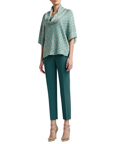 St. John Collection Corded Dash Knit Cowl Neck Batwing Sleeve Sweater & Crepe Marocain Cropped Emma Pants with Pockets