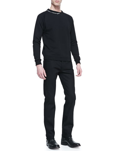 Zipper-Neck Sweatshirt & Stretch Slim-Fit Jeans