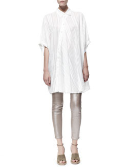 Stella McCartney Cesar Asymmetric Button-Front Oversized Tunic & Metallic Skinny Ankle Grazer Jeans