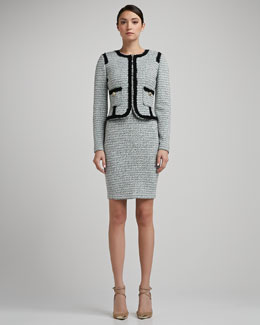 St. John Collection Sorbet Tweed Knit Jacket With Shredded Fringe Trim and Pockets & Sorbet Tweed Knit Scoop Neck Sheath Dress With Shredded Fringe Trim