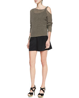 Eileen Fisher Ribbed Linen Cold-Shoulder Top, Organic Cotton Slim Tank & Silk Pleated Shorts