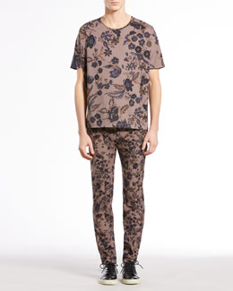 Gucci Floral-Print Silk-Twill Tee & Floral-Print Riding Pants