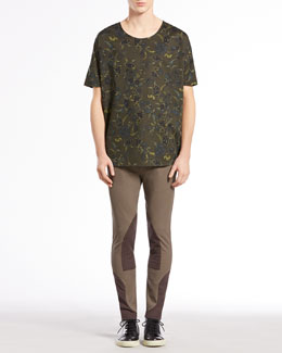 Gucci Floral-Print Silk-Twill Tee & Equestrian Techno Riding Pants