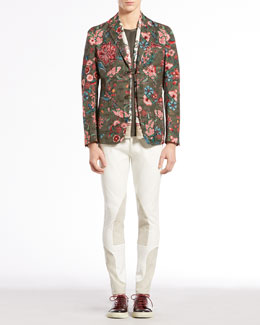 Gucci Floral-Print Jacquard Jacket, Silk and Cotton Tee, Equestrian Techno Riding Pants & Floral-Print Silk-Twill Scarf