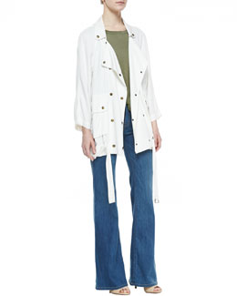 Current/Elliott The Infantry Jacket, Faded Cotton Muscle Tank & Dixie Wide-Leg Jeans