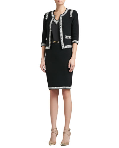 St. John Collection Grasse Tweed Knit 3/4 Sleeve Jacket with Crochet Trim, Grasse Tweed Knit Pencil Skirt & Beaded Liquid Satin Cap Sleeve Blouse with Crochet Trim