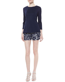 Shoshanna Long-Sleeve Seamed Ponte Top & Low-Rise Lace Shorts