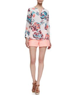 Shoshanna Long Sleeve Floral Print Blouse & Textured Shorts
