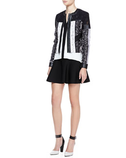 BCBGMAXAZRIA Tarik Mix-Fabric Leather-Trim Jacket, Laurenne Cutout-Top Silk Blouse & Ingrid Flare-Hem Ponte Skirt