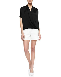 Vince Short-Sleeve Wrap Blouse & Pintucked Relaxed Jacquard Shorts