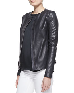 Vince Perforated Leather Zip Jacket & Satin-Front Jersey Top