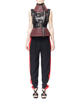 Alexander McQueen Zip-Trim Motorcycle Vest & Side-Stripe Leaf Crepe Pant