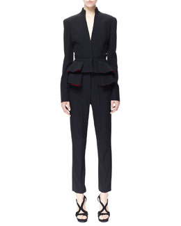 Alexander McQueen Pleated Peplum Jacket & Pleated Peplum Cigarette Pants