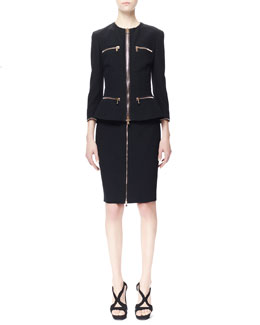 Alexander McQueen Four-Pocket Zip Jacket & Zip-Front Pencil Skirt