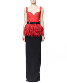 Alexander McQueen Beaded Feather Peplum Top & Long Crepe Column Skirt