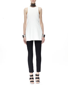 Alexander McQueen Sleeveless Halter Tank Top & High-Waist Crepe Pants