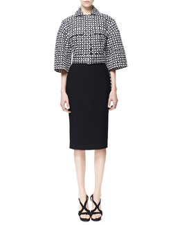 Alexander McQueen High-Low Laser-Cut Cotton Jacket & Single Pencil Crepe Skirt