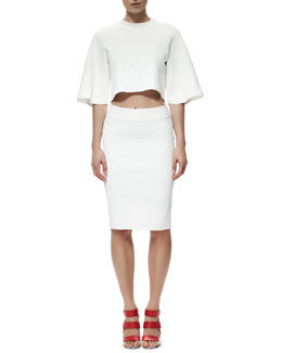 Alexander McQueen Crocodile-Embossed Crop Top and Pencil Skirt