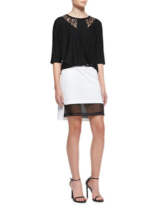 Lace-Inset Jersey Top & Mesh-Hem Belted Skirt