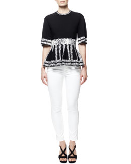 Alexander McQueen Snake-Print Peplum Top and Zipper-Side Cropped Jeans