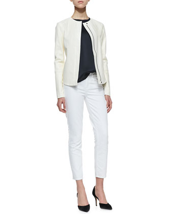 Perforated Leather Zip Jacket, Satin-Front Jersey Top & Dylan Slim Ankle ...