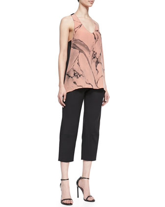 Carrara Printed Silk Sleeveless Top & Cropped Pleated Twill Pants