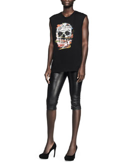 Alexander McQueen Printed Graffiti Skull Tank & Leather Zip-Cuff Capri Leggings