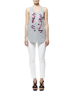Alexander McQueen Beaded Damier Skull Tank Tee & Leather Zip-Cuff Capri Leggings