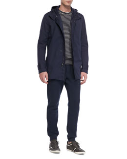 Vince Coated Canvas Long-Sleeve Jacket, Striped Crewneck Sweater & Fleece Tapered Sweatpants
