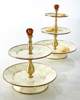 MacKenzie-Childs Parchment Check Sweet Stands
