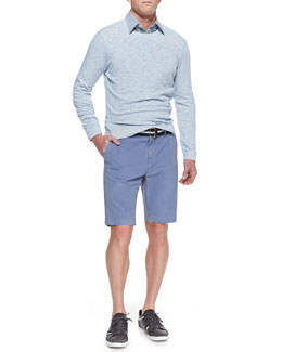Vince Lightweight Melange-Knit Sweatshirt, Striped Linen-Blend Shirt & Cotton Chino Shorts
