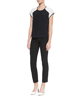 Diane von Furstenberg Liva Colorblock Silk Top & Lupa Cropped Leggings