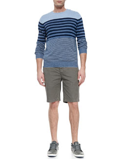 Vince Linen-Blend Striped Sweater & Cotton-Twill Shorts