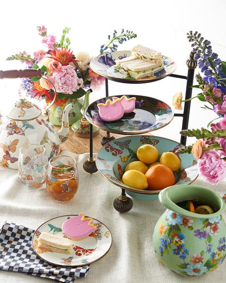 Butterfly Garden White 2-Quart Tea Kettle