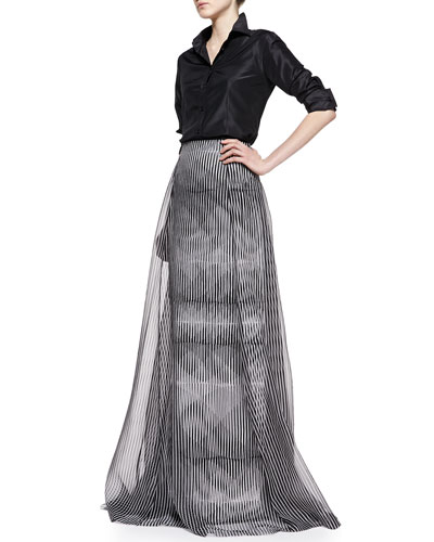 Carolina Herrera Classic Silk Taffeta Blouse and Optical-Print Long Skirt