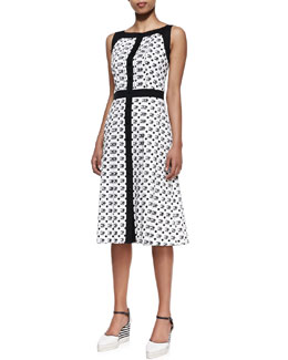 Carolina Herrera Tile-Print A-Line Dress & Canvas Striped-Wedge Espadrille, Ivory/Black