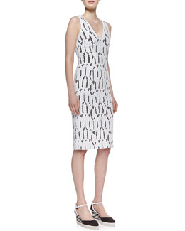 Carolina Herrera Shattered Glass Lace Dress & Canvas Striped-Wedge Espadrille