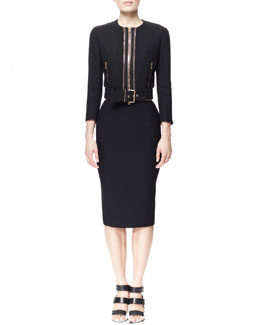 Alexander McQueen Golden-Zip Belted Crepe Biker Jacket, Crepe Bra Top & Single Pencil Crepe Skirt