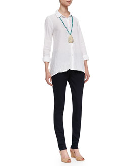 Eileen Fisher Handkerchief Linen Boxy Shirt & Stretchy Jean Leggings, Petite