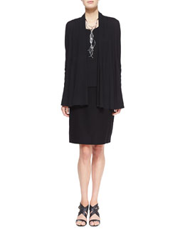 Eileen Fisher Lightweight Flutter Cardigan & Washable Stretch Crepe Pencil Skirt