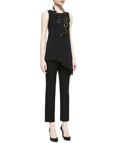 Eileen Fisher Sleeveless Asymmetric Jersey Tunic & Washable Stretch-Crepe Ankle Pants