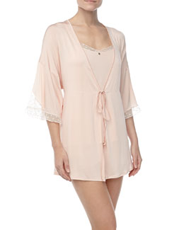 Hanro Rita Short Robe, Camisole & French Knickers, Claire