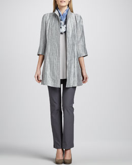 Eileen Fisher Washable Crinkle Sheen Jacket, Jersey Tank, Silk Shibori Scarf & Slim Boot-Cut Pants, Women's