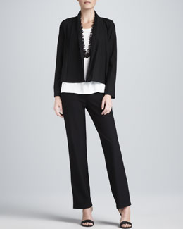 Eileen Fisher Washable Stretch-Crepe Short Jacket, Jersey Tank & Straight-Leg Pants, Women's