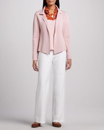 Eileen Fisher Interlock One-Button Jacket, Jersey Tank & Modern Wide-Leg Pants, Petite