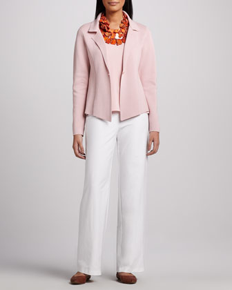 Interlock One-Button Jacket, Jersey Tank & Modern Wide-Leg Pants, Women's