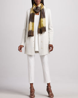 Eileen Fisher Stand Collar Jacket, Silk Jersey Tunic, Silk Shibori Scarf & Stretch-Crepe Ankle Pants