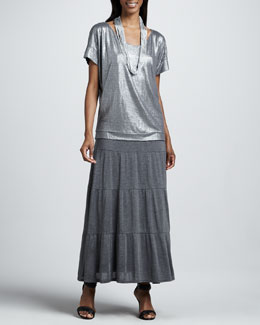 Eileen Fisher Shimmer Soft V-Neck Top, Tiered Maxi Skirt & Drapey Metallic Necklace, Petite
