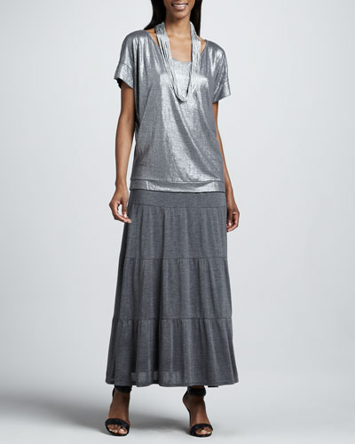 Eileen Fisher Shimmer Soft V-Neck Top, Tiered Maxi Skirt & Drapey Metallic Necklace, Women's